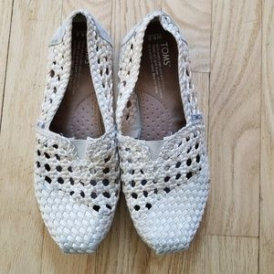 Women's 6.5 Basket Weave Cream Toms